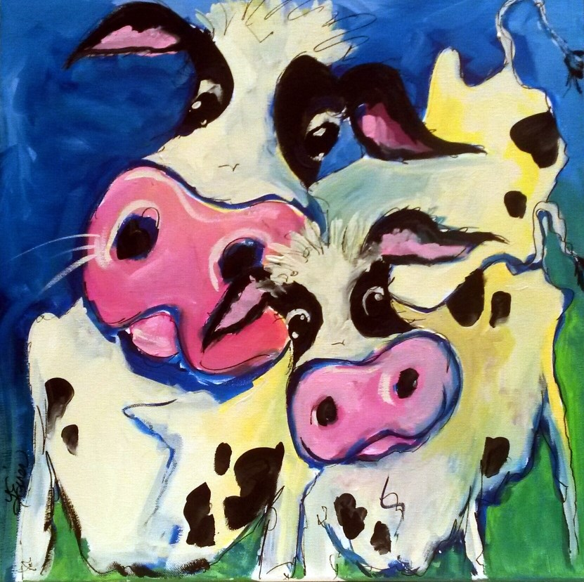 """Watchful Eye, Cow and Calf, Day 26, 30 paintings in 30 days"" original fine art by Terri Einer"