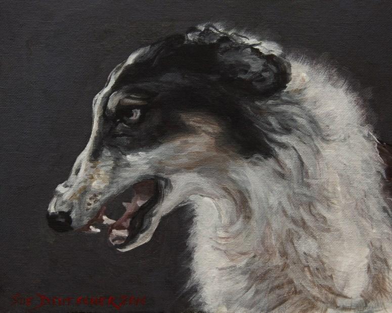 """The Angry Borzoi"" original fine art by Sue Deutscher"