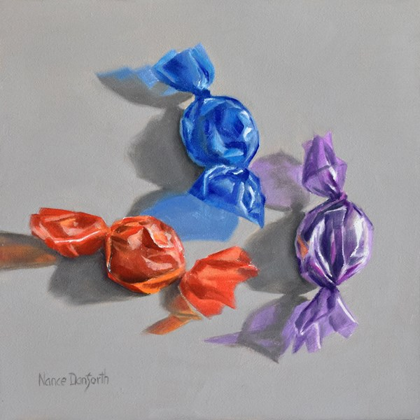"""Three Candies"" original fine art by Nance Danforth"
