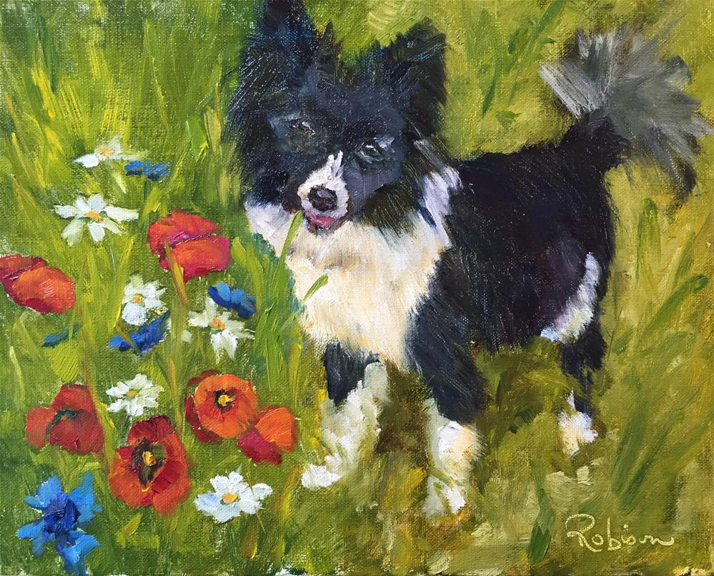 """Poppy Loving Puppy"" original fine art by Renee Robison"