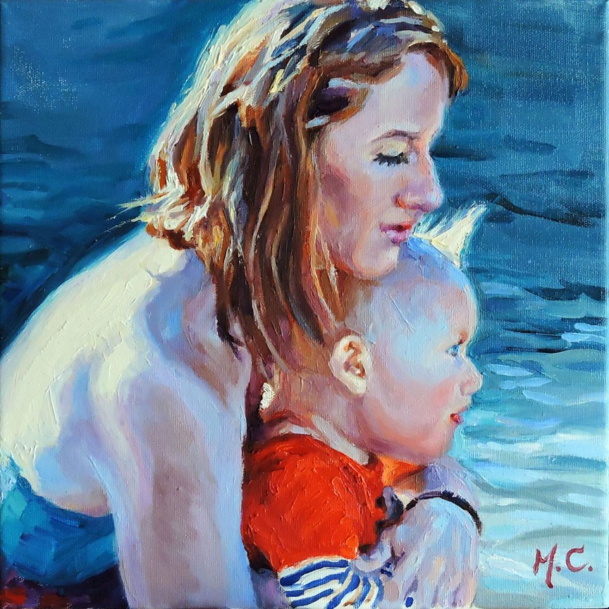 """Mom and baby"" original fine art by Michelle chen"