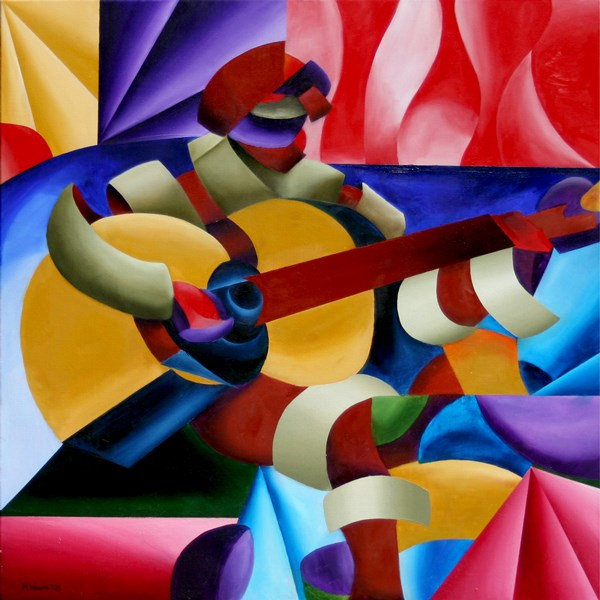 """Mark Webster - Emily with Guitar - Abstract Geometric Futurist Figurative Oil Painting"" original fine art by Mark Webster"