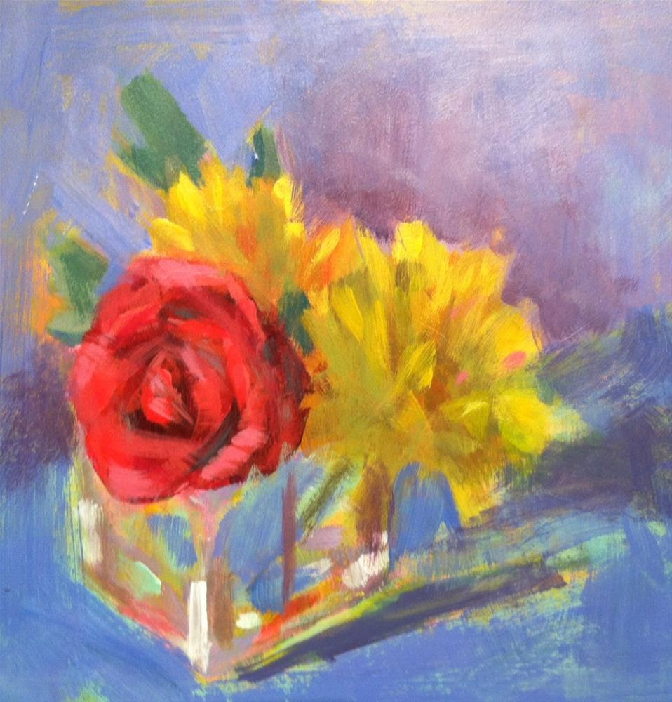 """""""Yellow Daisies/Rose"""" original fine art by Katharine March"""