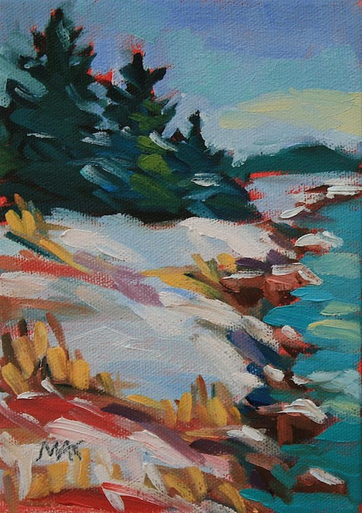 """Snow on the Bank"" original fine art by Mary Anne Cary"