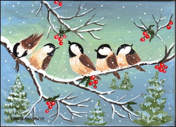 """Winter Chickadees"" original fine art by Patricia Ann Rizzo"