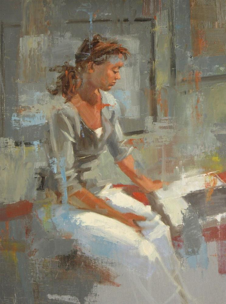 """Reading about Anatomy  12in x 9in  oil"" original fine art by Claudia Hammer"