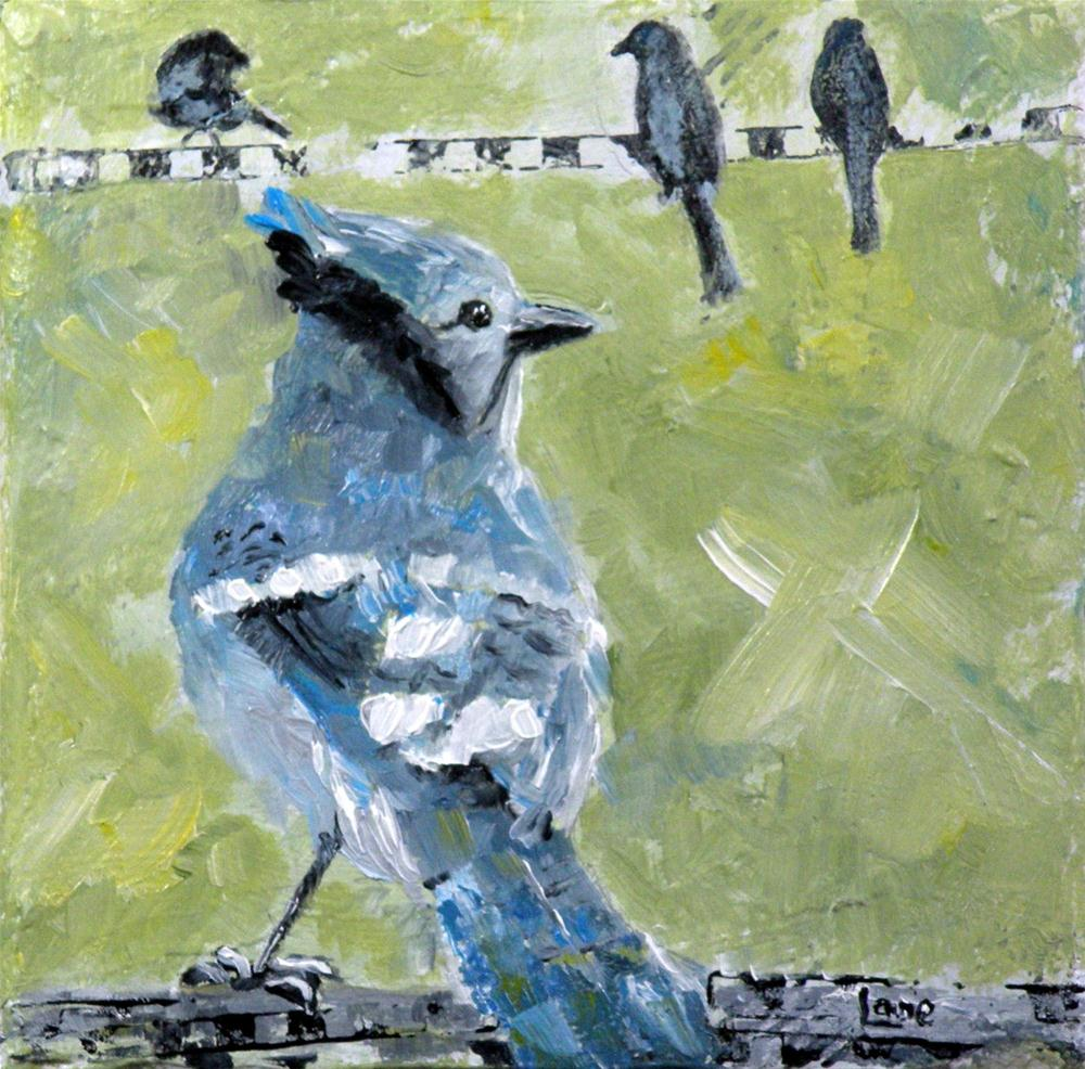 """BLUEBIRD ORIGINAL OIL ON GALLERY WRAP CANVAS © SAUNDRA LANE GALLOWAY"" original fine art by Saundra Lane Galloway"