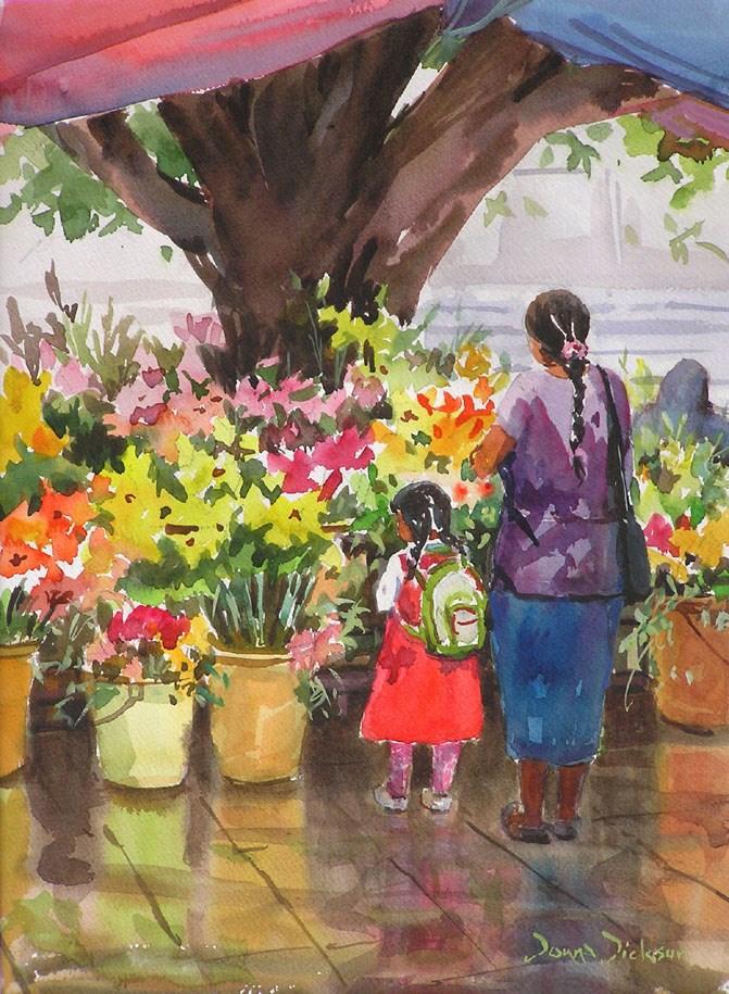 """FRESH FLOWERS"" original fine art by Donna Dickson"