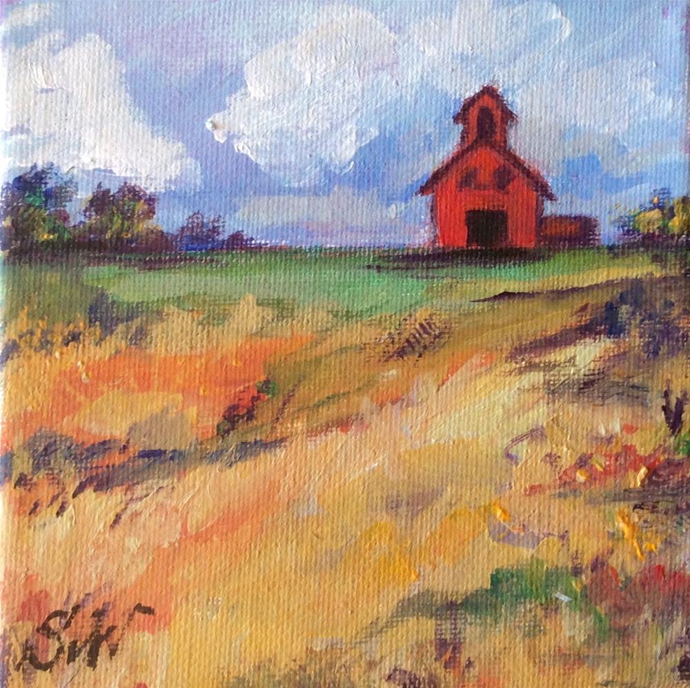 """""""Red barn rural landscape"""" original fine art by Sonia von Walter"""