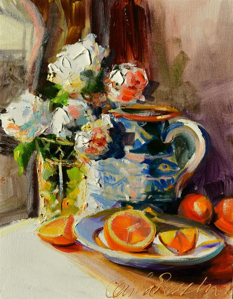 """""""KATANA'S ORANGES"""" original fine art by Cecilia Rosslee"""