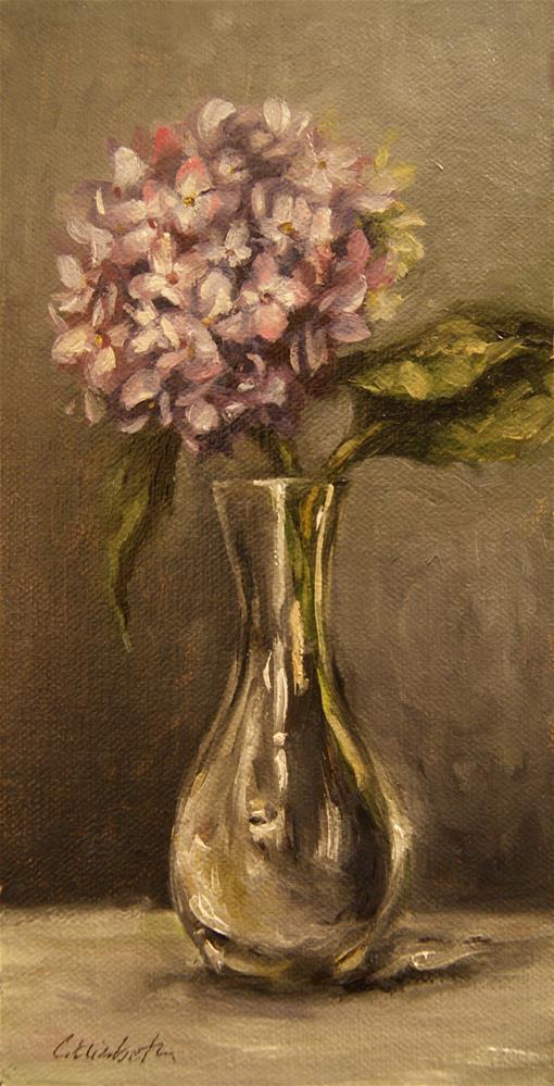 """""""Hydrangeas in Glass Vase,  Oil on 4x8 Linen Panel"""" original fine art by Carolina Elizabeth"""