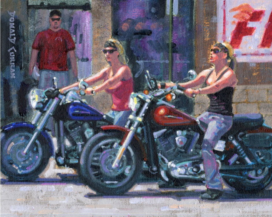 """Biker Babes"" original fine art by Donald Curran"