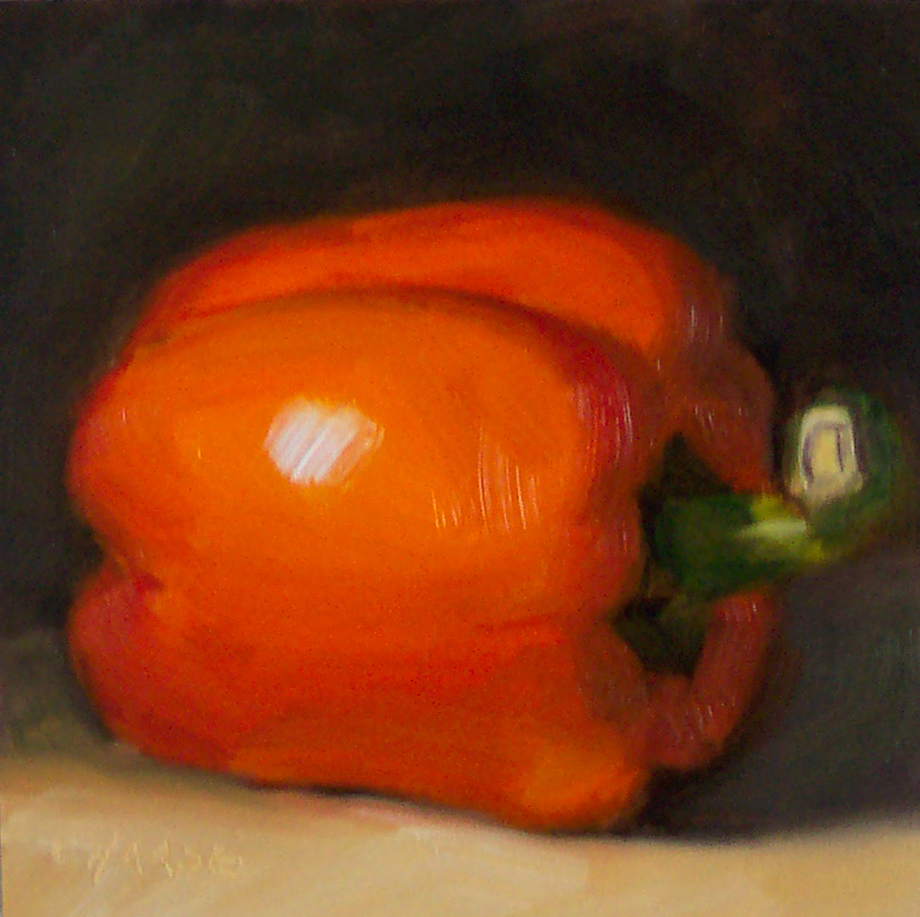 """Orange Pepper"" original fine art by Cindy Haase"
