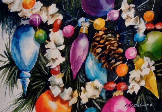 """Christmas Popcorn"" original fine art by Kathy Los-Rathburn"