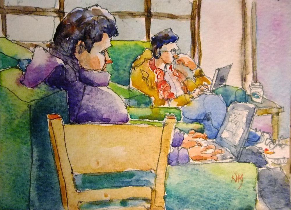 """""""click, click, sip, sip, click, click... hmm."""" original fine art by Nora MacPhail"""