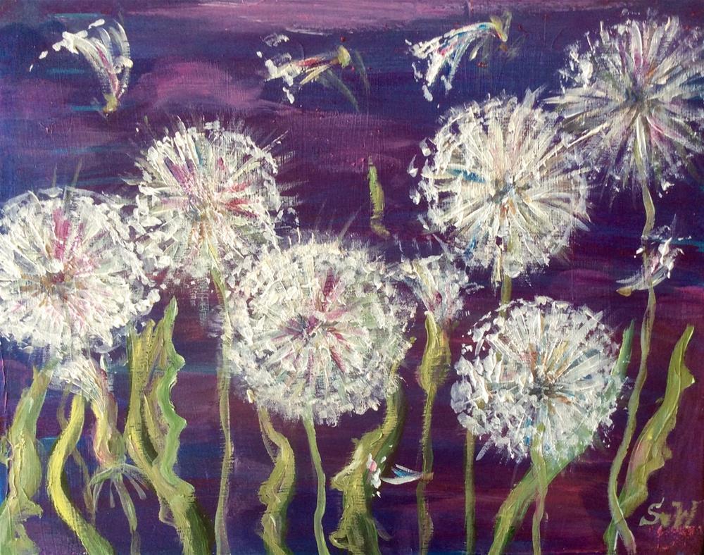 """""""Dandelions painting"""" original fine art by Sonia von Walter"""