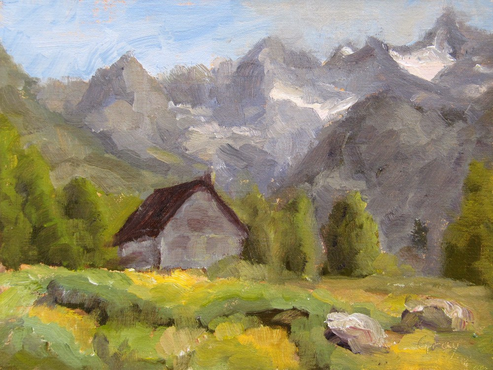 """Grey Cabin in the Sierras"" original fine art by Naomi Gray"