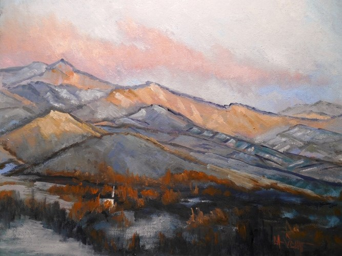 """Mountain Range, Daily Painting, Small oil painting, 11x14x1.5 Oil SOLD"" original fine art by Carol Schiff"