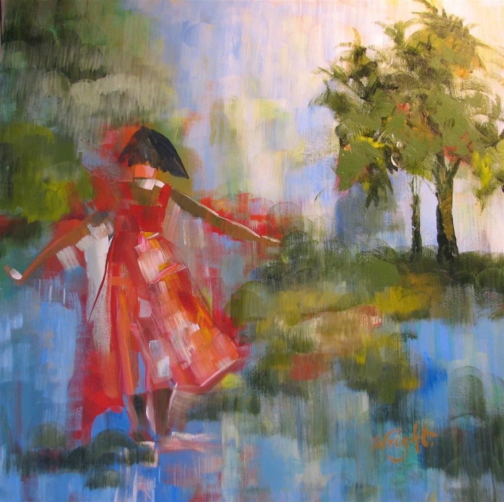 """Puddle Ballerina"" original fine art by Molly Wright"