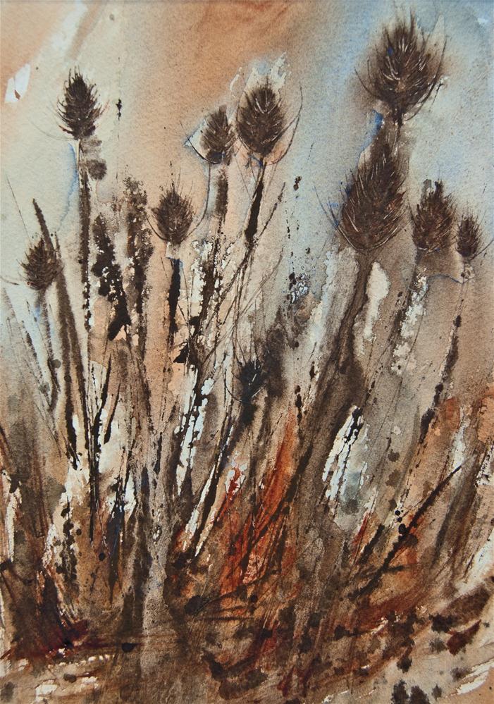 """""""Teasels"""" original fine art by Jean Lurssen"""
