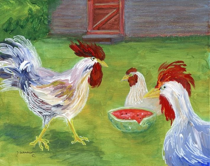 """Riverbend Chickens"" original fine art by Sue Furrow"