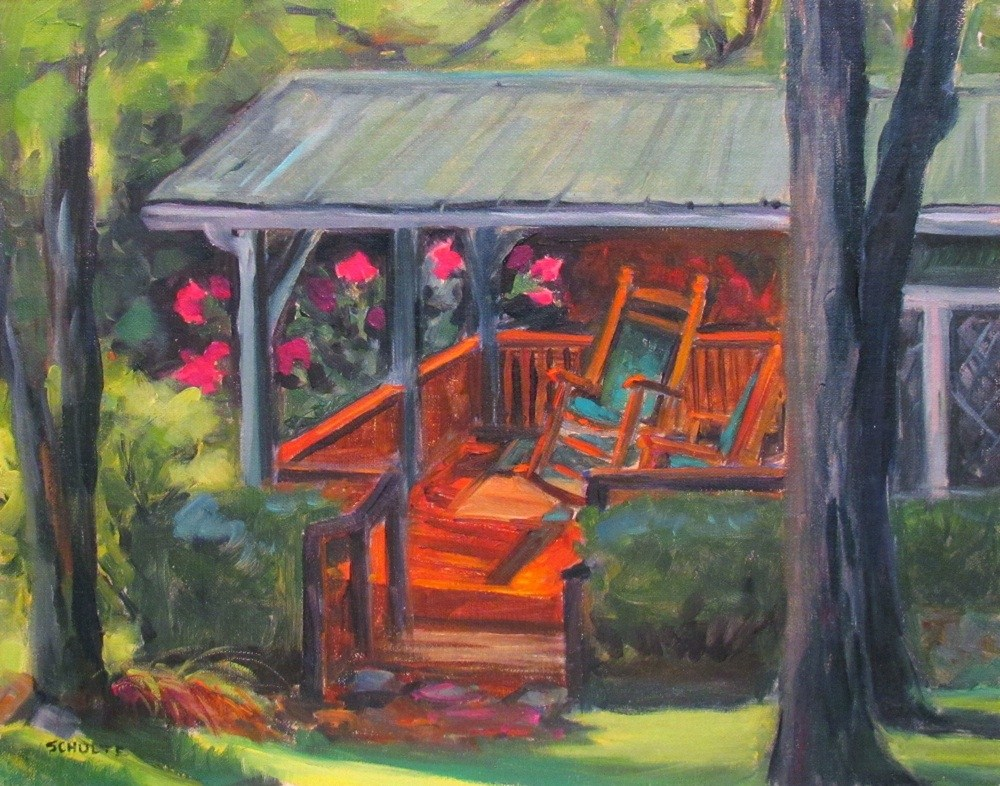 "Framed ""Porch Rockers"" original fine art by Lynne Schulte"