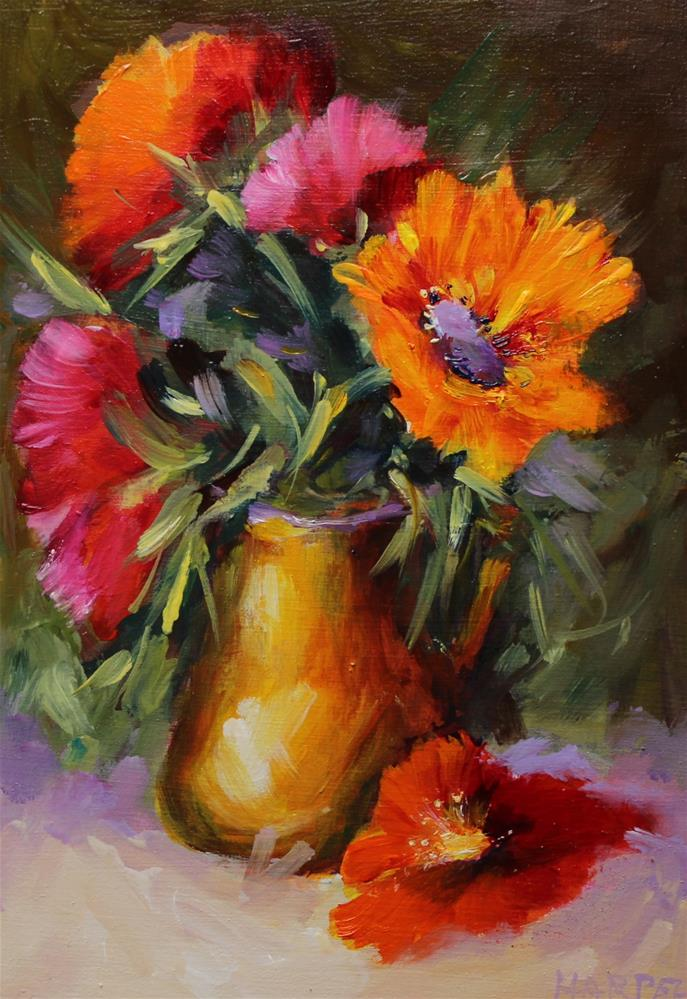 """Poppy Sunflower Floral Flower Still Life Original Oil Painting"" original fine art by Alice Harpel"