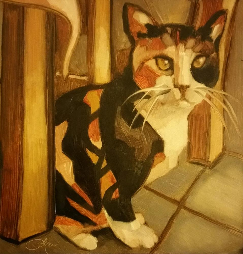 """Cafe Calico Cat"" original fine art by Leni Tarleton"
