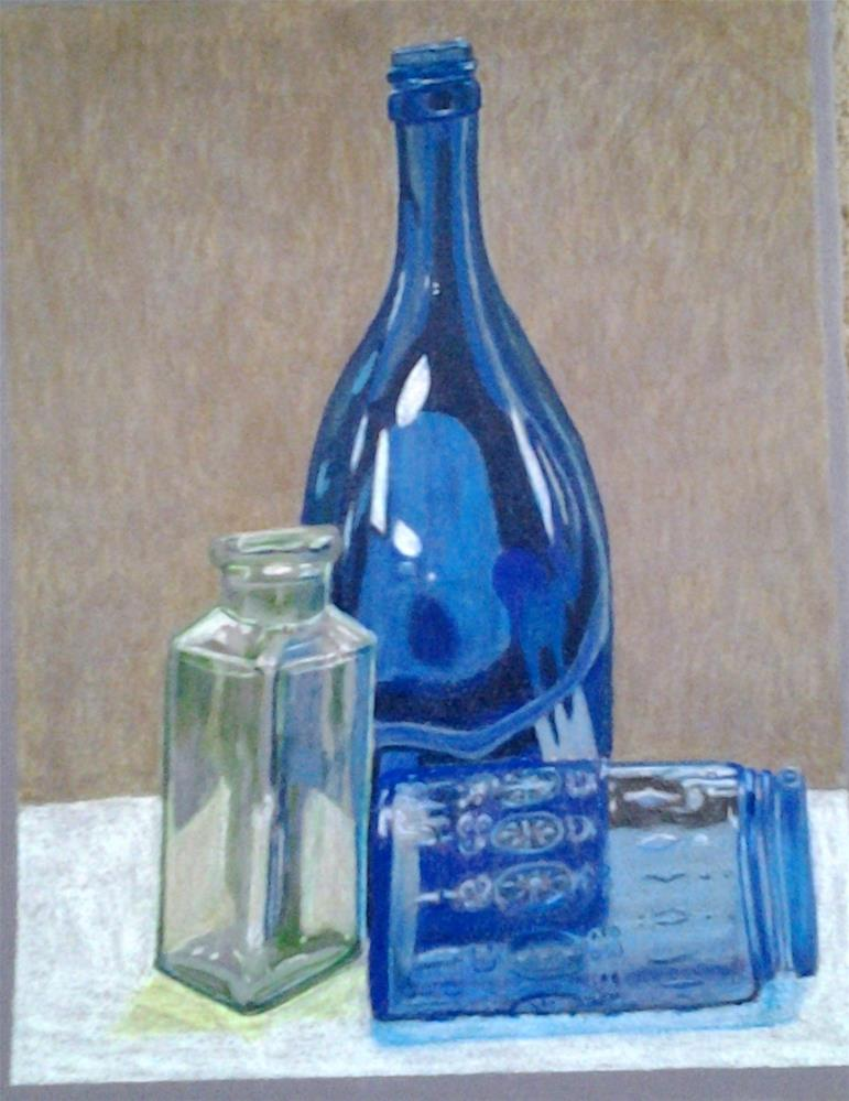 """Colored Glass Bottle Study"" original fine art by Elaine Shortall"