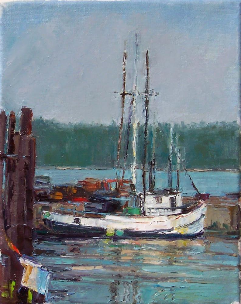 """Fidalgo Fishing Boat,sea scape,oil on canvas,10x8,price$600"" original fine art by Joy Olney"