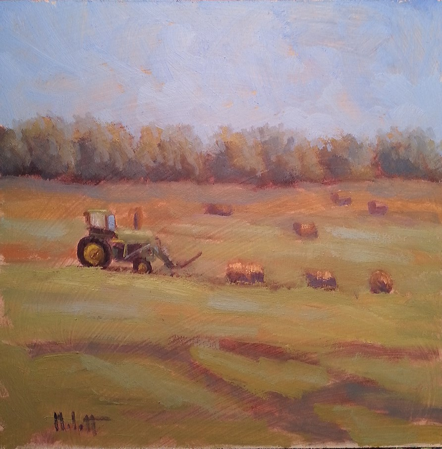 """John Deere Harvest Hay Bales Daily Oil Painting"" original fine art by Heidi Malott"