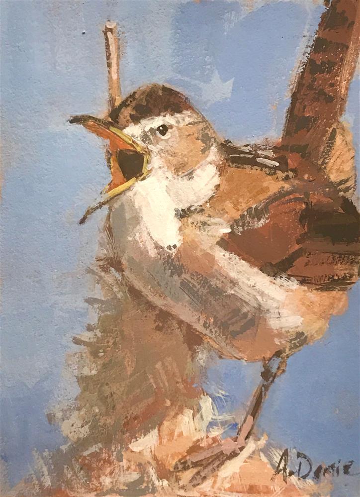 """Marsh Wren #2"" original fine art by Andrew Daniel"