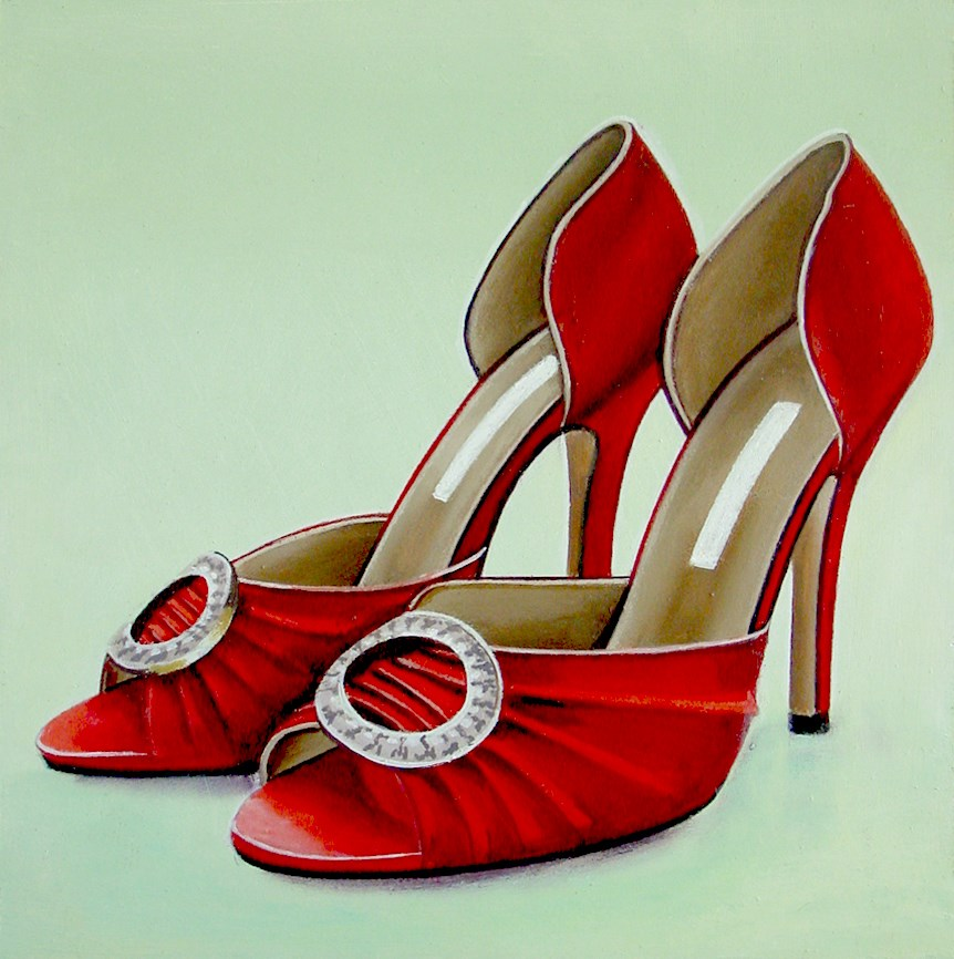 """Manolo Blahnik- Still Life Painting Of Red Manolo Blahnik Open Toe Shoes"" original fine art by Gerard Boersma"