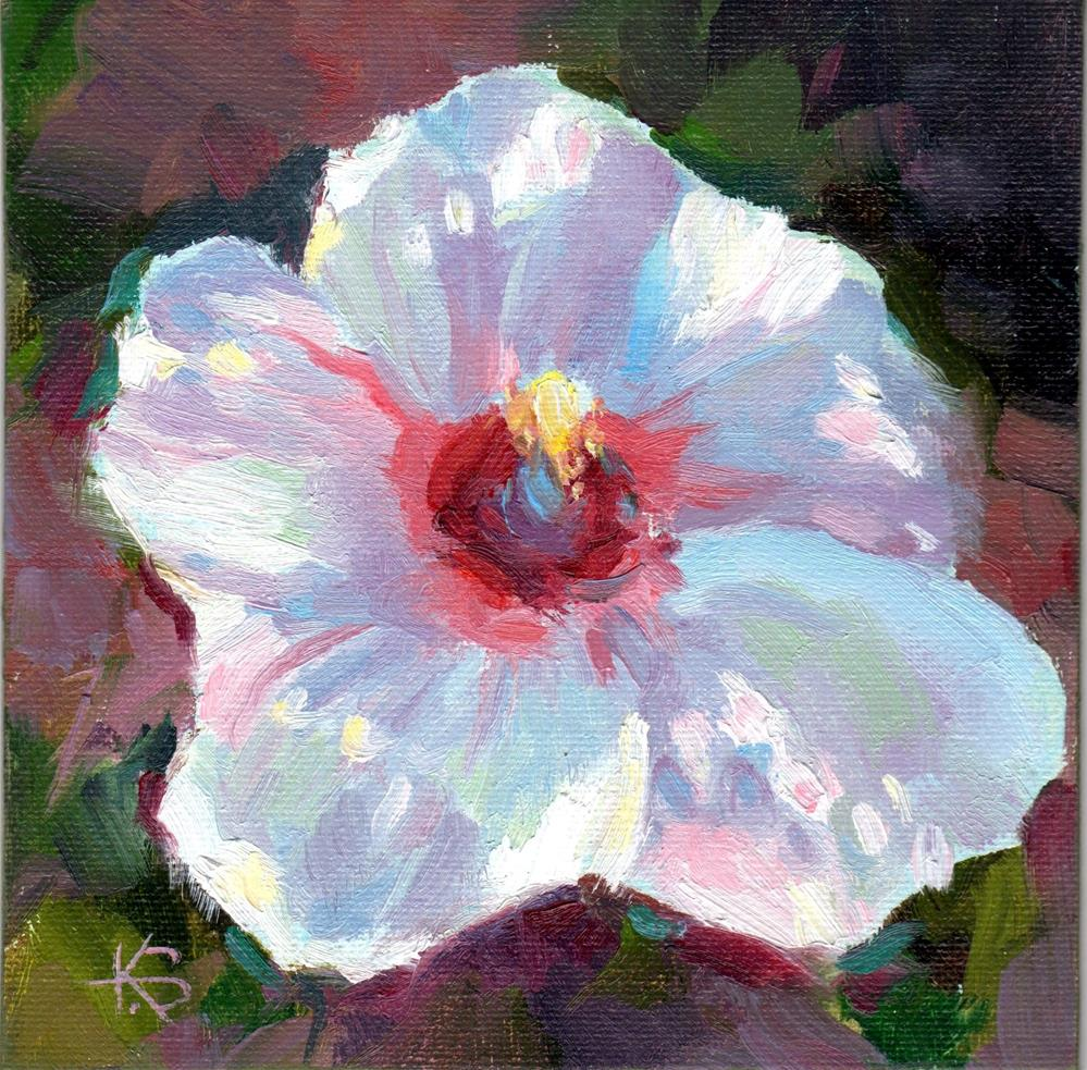 """White Hibiscus"" original fine art by Kathy Bodamer"