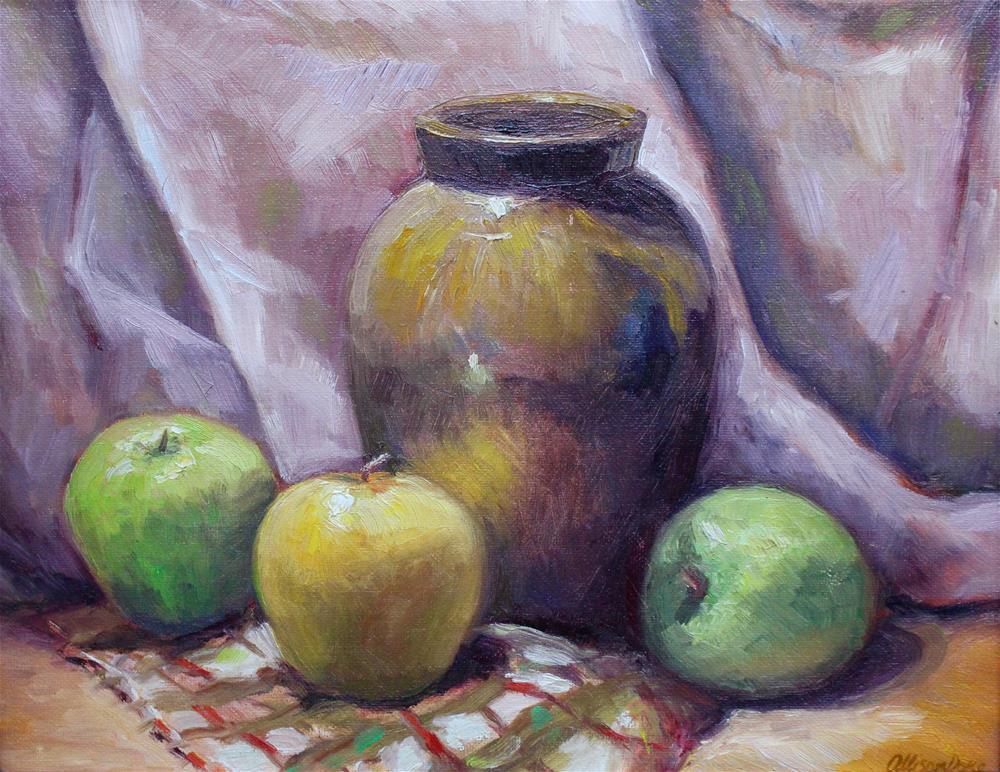 """Bronze Vase with apples"" original fine art by Allison Doke"