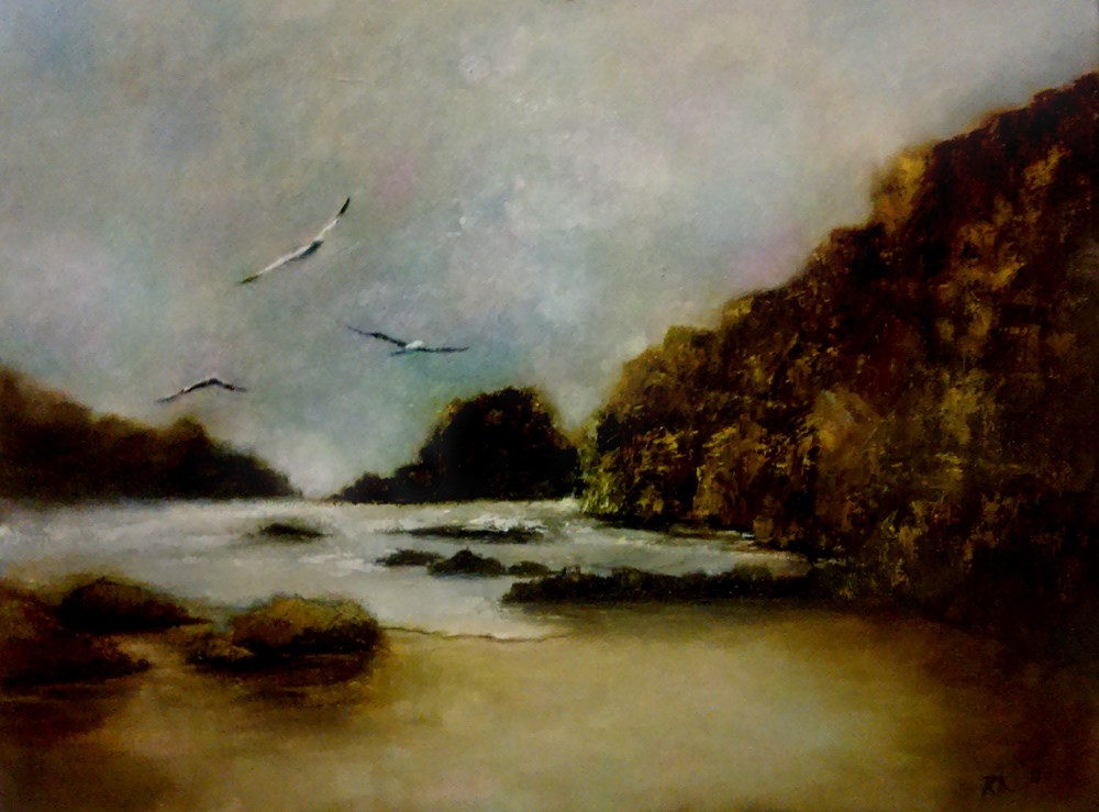 """Rocky Shore with Seabirds"" original fine art by Bob Kimball"
