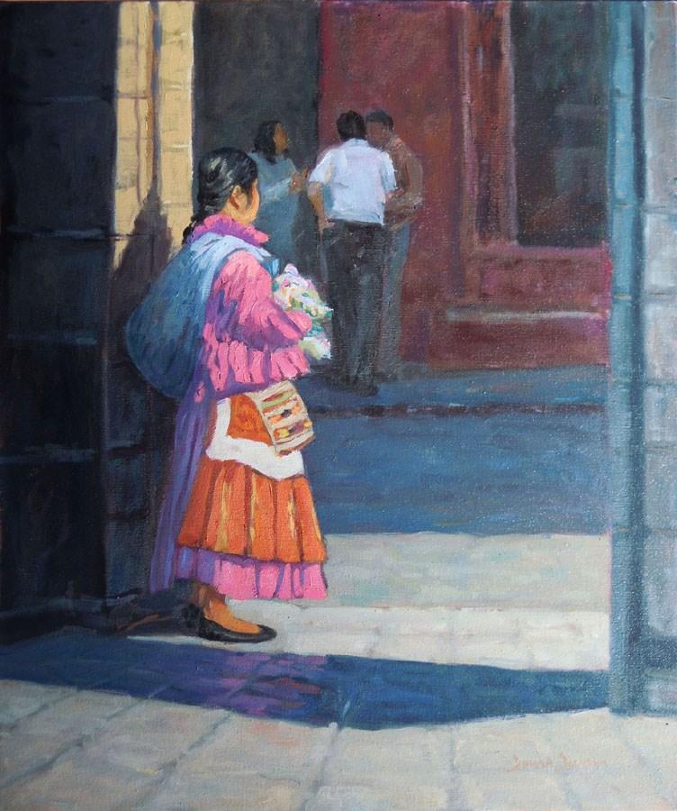 """""""VENEDEDOR DE MUNECAS - DOLL SELLER"""" original fine art by Donna Dickson"""