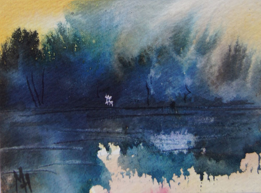 """Sunrise at the lake 4 ACEO"" original fine art by Marion Hedger"
