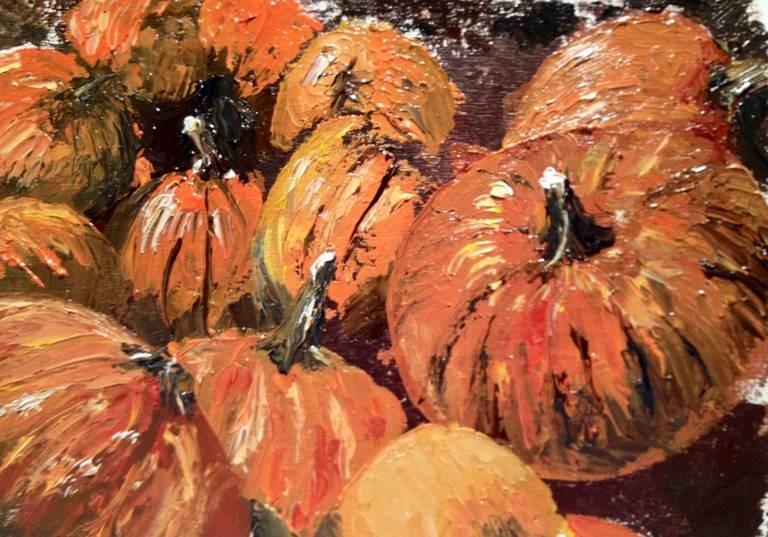 """""""Pumpkin Barrel"""" original fine art by Gary Bruton"""