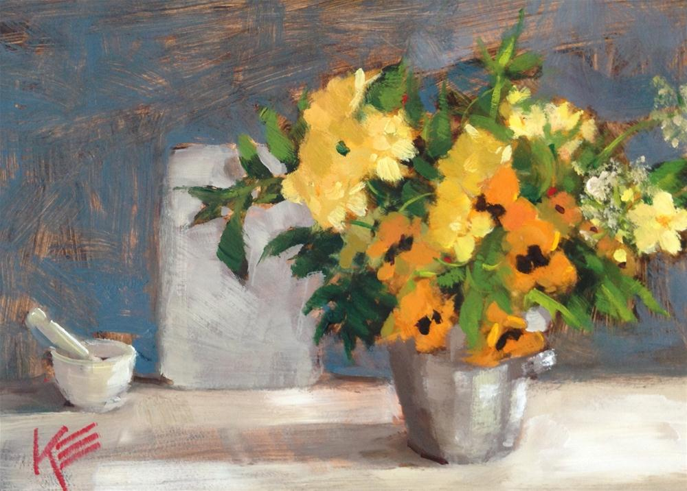 """Pansies & friends"" original fine art by Krista Eaton"