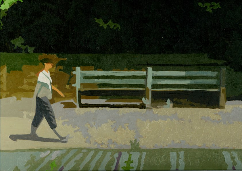 """STROLL BY THE PARK"" original fine art by Nancy Herman"
