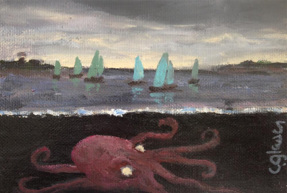 """lurking kraken"" original fine art by christina glaser"