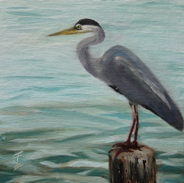 """Heron on a Post"" original fine art by Jane Frederick"