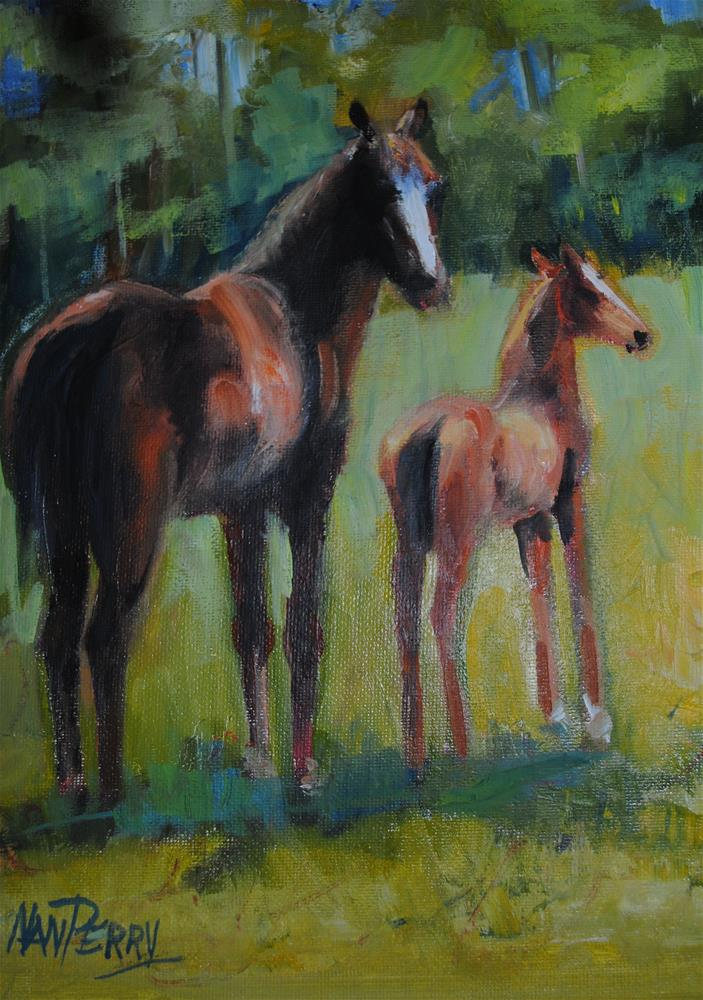 """Hanging with Mom "" original fine art by Nan Perry"