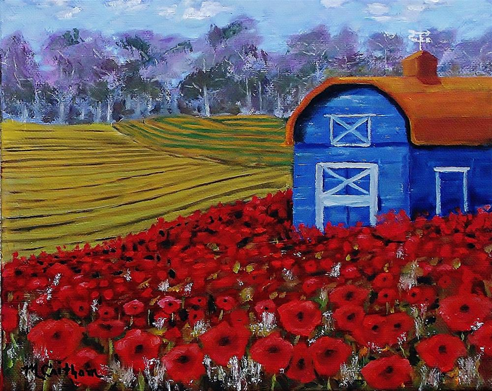 """Blue Barn in Red Poppy Field"" original fine art by Mike Caitham"