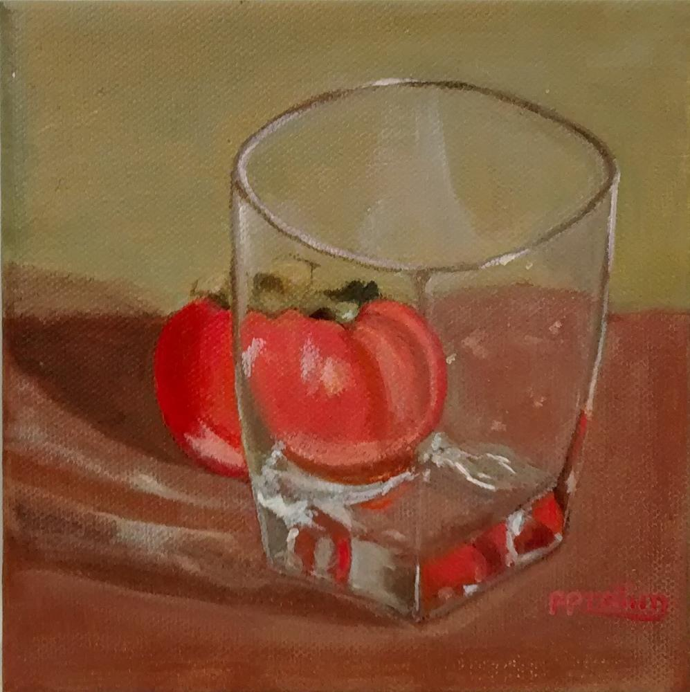 """persimonn and glass"" original fine art by Pratima Patel"
