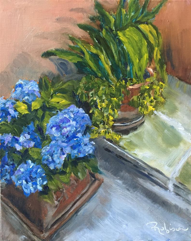 """Spello Blue Hydrangeas"" original fine art by Renee Robison"