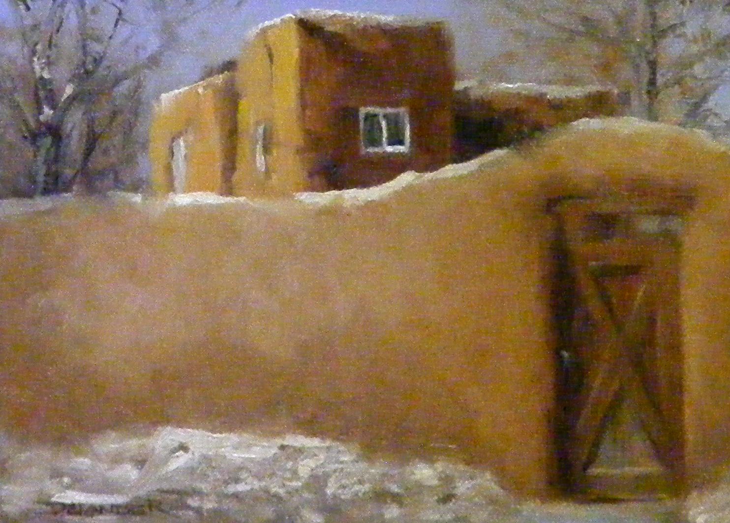 """Snow Day Santa Fe, Landscape,  Oil"" original fine art by Diana Delander"