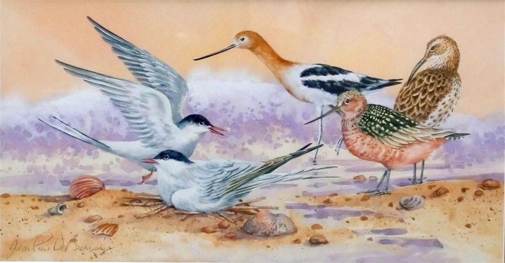 """Shore birds II, framed"" original fine art by Jean Pierre DeBernay"