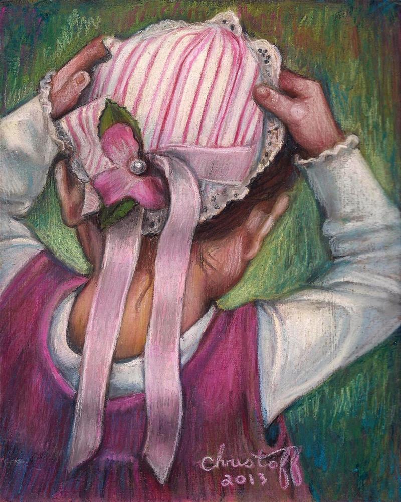 """Pinner Cap 8 x 10, pastel, figure, $175.00"" original fine art by emily Christoff-Flowers"